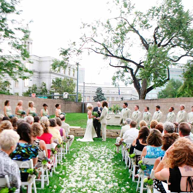 Julia and Jacob exchanged vows on the museum's lush green space overlooking downtown Denver.