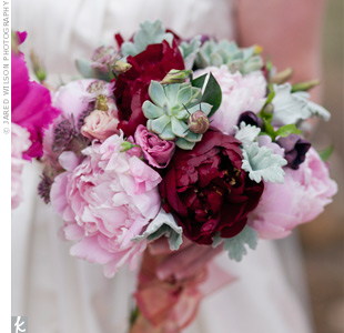 Gorgeous peonies in burgundy and soft pink made up Kirstens bouquet. Succulents brought in the green and smaller blooms provided a bit of texture.