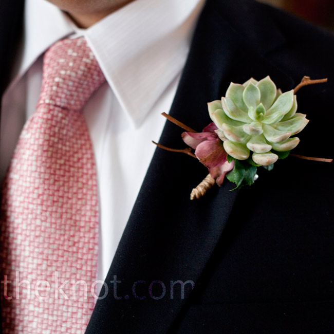 Bobby wore a structured and masculine succulent on his lapel.