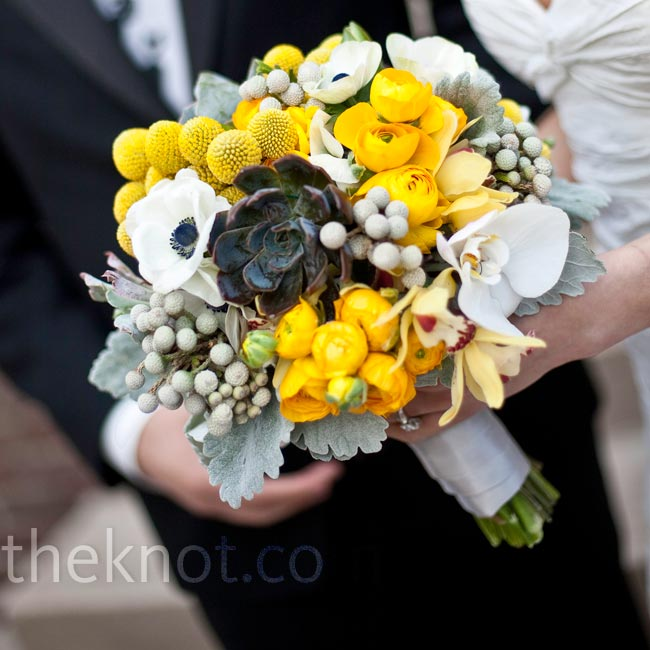 Ellen's hand-tied bouquet of French tulips, yellow cymbidiums, white anemones and yellow poppies and Billy balls was collared with pale succulents, lamb's ear and Dusty Miller.