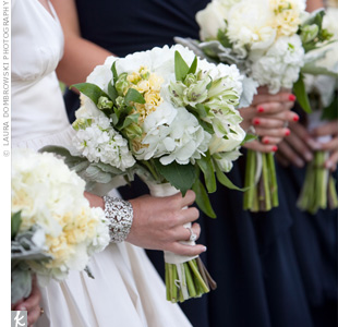 Sarre's bouquet of hydrangeas, peonies and green alstroemeria stood out with accents of silver Dusty Miller.