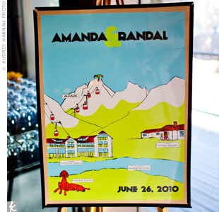 A Seattle artist designed a concert poster for the couple's big weekend, including important event spots around Aspen.