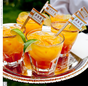 "Guests sipped signature ""Mandy-N-Randy Tinis,"" made with a tequila sunrise drink recipe."