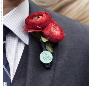 Dan stood out with two red ranunculus on his lapel.