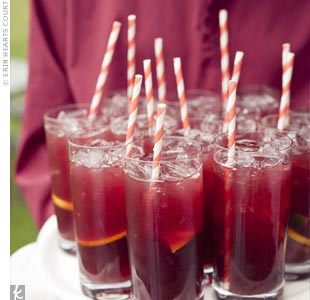 Guests sipped icy cold sangria with whimsical paper straws.