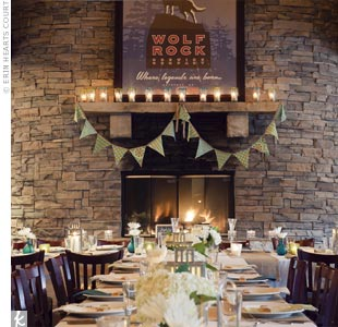 Classic decor, dark wood, vaulted ceilings and a two-story fireplace made for a cozy reception.
