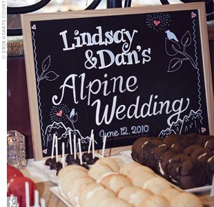 A personalized sign invited Lindsay and Dan's Alpine wedding guests to dig into a variety of whoopie pies and delicious cheesecake pops!