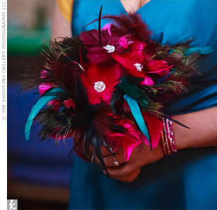 Jennifer decided to make these feather bouquets for her bridesmaids in teal, purple and magenta.