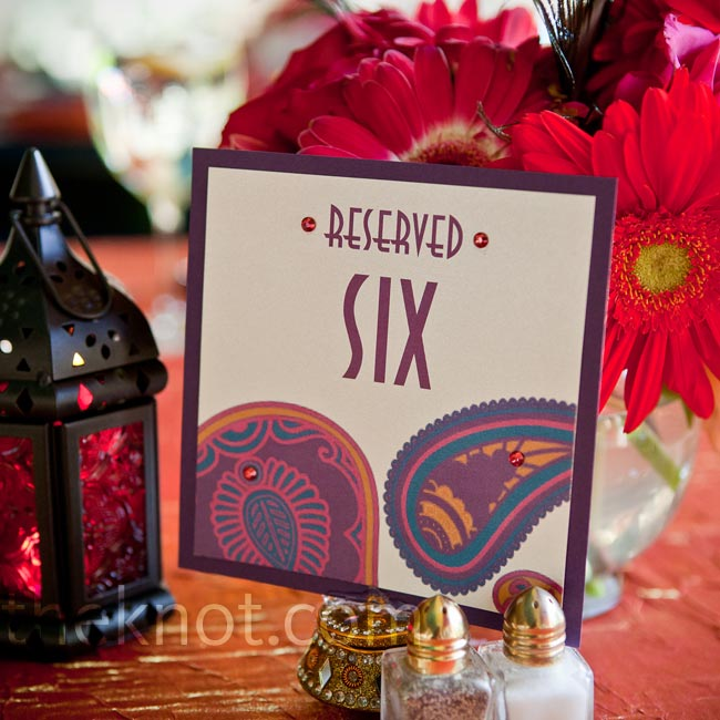 Jennifer designed all of the stationery herself, including these Moroccan-inspired table number cards.