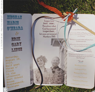 The trifold booklets had ceremony details and a photo from the couples engagement shoot.