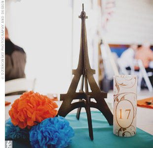 As a nod to Meghan's love of all things French (and the couple's honeymoon spot), the tables were topped with mini Eiffel Tower replicas.