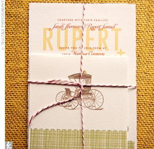 Sarah designed and printed the invitations on heavy paper, using the location as inspiration for the carriage and tandem bicycle.
