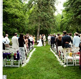The couple exchanged vows in a tucked-away clearing in the woods.