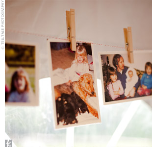 For an extra-personal touch, Sarah and Rupert hung childhood photos using clothespins and baker's twine.
