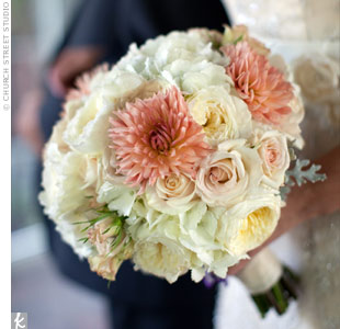 Susie carried a lush mix of dahlias, hydrangeas, dusty miller and roses.