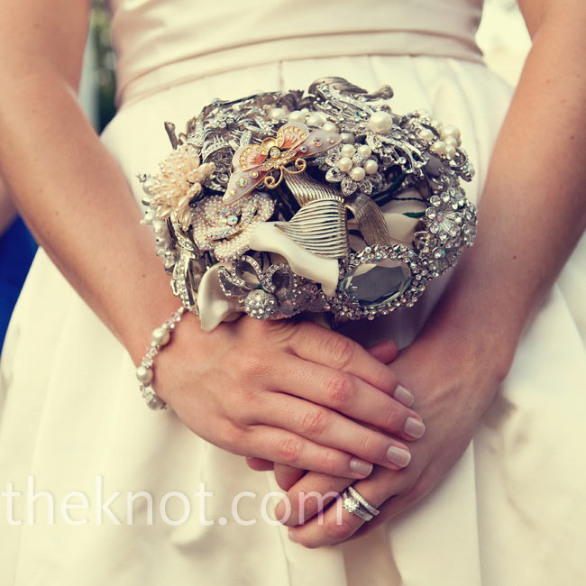 Allison wanted a bouquet that would last long after the wedding day, so she carried one of brooches and vintage jewelry.