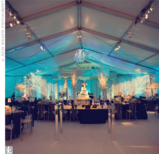 A tent, flooring and cool lighting transformed Allison's parents' backyard.