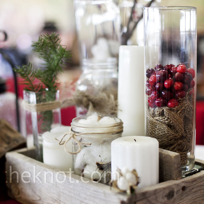 Rustic Winter Barn Wedding Ideas: Glass Cylinders And Jars Filled With Cranberries, Pine