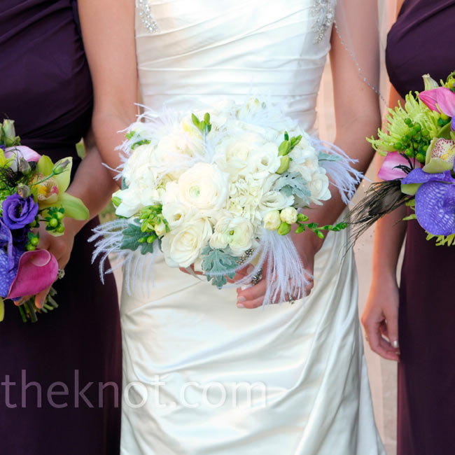 All of the bouquets were accented with feathers.