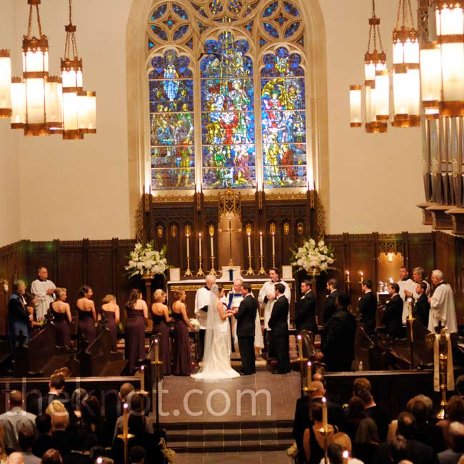 Stained-glass windows and vaulted ceilings made a great backdrop.