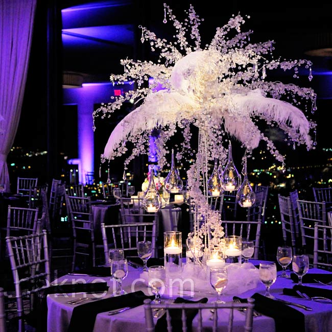 These tall, crystal-covered arrangements of branches and feathers were a major wow factor of the night.