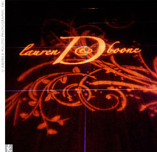 A gobo light of the couple's monogram was projected onto the dance floor.