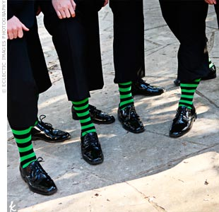 For a fun twist, the guys all wore black-and-green-striped socks.