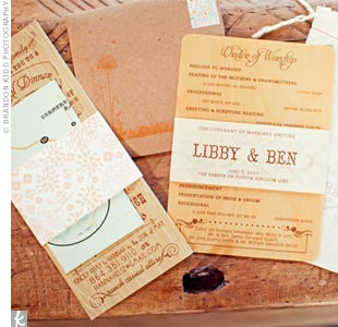 Libby designed all of the stationery, working with natural elements like recycled kraft paper and a wood-grain pattern.