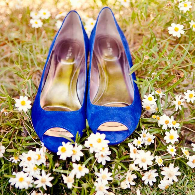 Kira found shoes in the perfect shade of cobalt blue to match the wedding's color scheme.