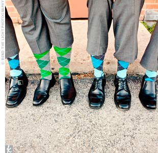 Anthonys groomsmen wore bright argyle socks.