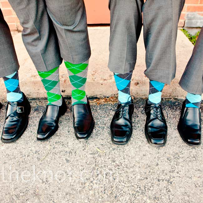 Anthony's groomsmen wore bright argyle socks.
