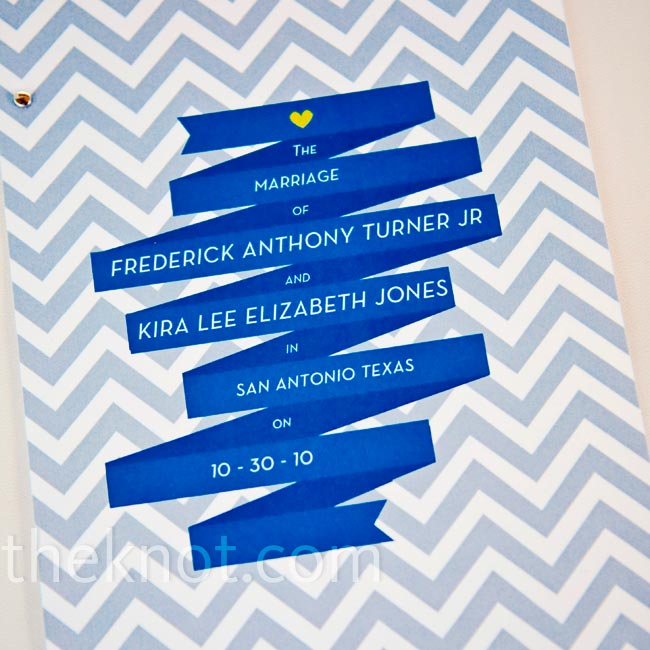 Inspired by the design of the invitations, Anthony made the programs in a similar graphic style.