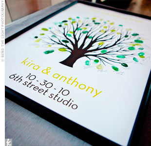 Guests left thumbprints as leaves on this poster-size tree guest book.