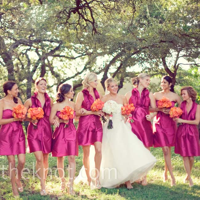 The bridesmaids wore silky taffeta dresses—either a pleated halter or strapless.