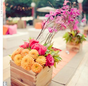 Orange and Pink Centerpieces