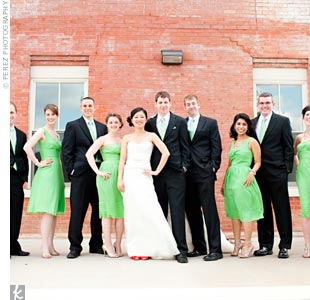 The bridesmaids wore chiffon dresses in clover green.