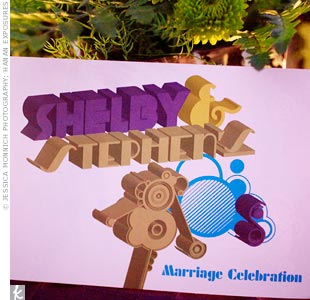 Shelby and Stephen's invitations were designed to look like the logo from VH1's I Love the 80s.