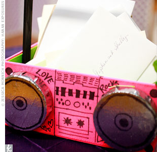 Guests dropped their cards into a box designed to look like a retro pink boom box.