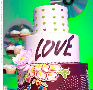 The baker modeled the cake after a mural in the Ullens Center for Contemporary Art, located in the arts district where Shelby and Stephen work in China.