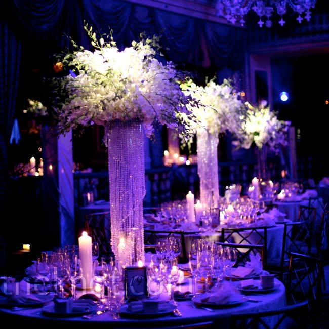 Pillar centerpieces of cascading crystals were the perfect luxe touch to this Pierre Hotel ballroom wedding in New York City.