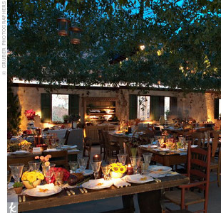 For Katie Lee and Billy Joel's wedding, Marcy created a quaint Tuscan farmhouse feel on the couple's 15-acre Long Island, New York, estate.