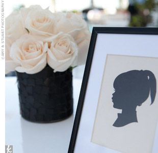 "Actor Colin Hanks's bride-to-be, Samantha Bryant, was a ""silhouette freak,"" so Marcy commissioned a silhouette artist to make them for all the guests at their West Hollywood wedding.