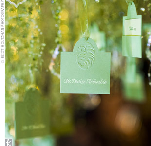 A hanging tree of escort cards added a whimsical touch to this New York City wedding.