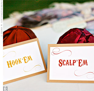 Instead of basic all-black yarmulkes, the couple chose University of Texas orange and Florida State University garnet as colors.