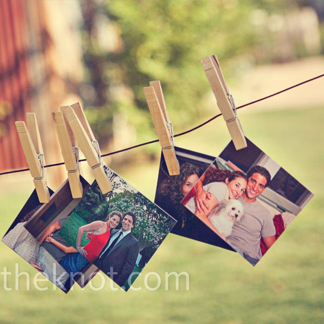 Photos of the couple hung from clotheslines around the reception area.