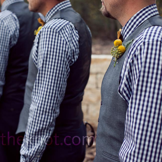 The guys ended up in tailored gingham shirts, khakis, vests and craspedia boutonnieres.