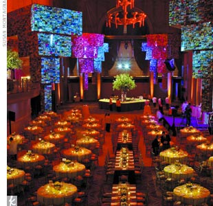 For an Americas Society fund-raiser in New York, David adorned Cipriani Wall Street with massive hanging chandeliers covered in postcards collected from North, Central, and South America.