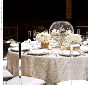 Varying heights of paper lanterns add dimension to tented receptions.