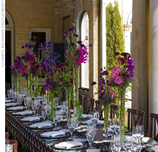 Tall sprigs of wildflowers are a refreshing take on spring centerpieces and work especially well at long banquet tables.