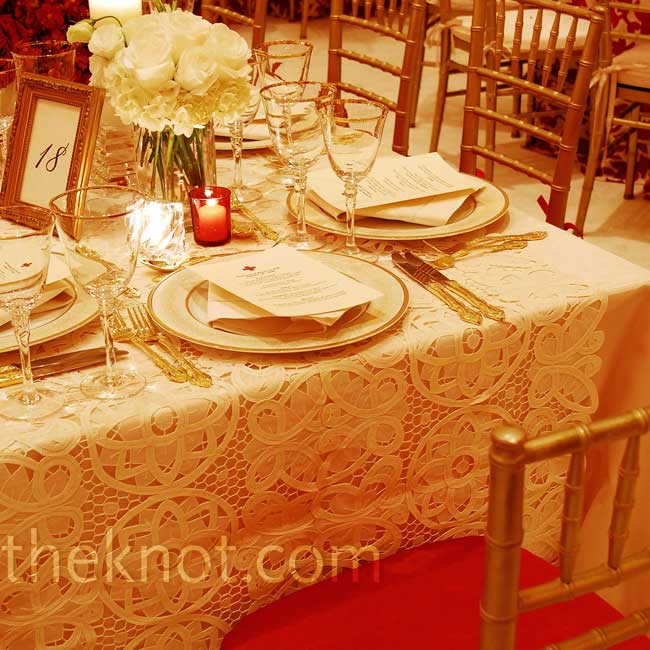 Bryan highly recommends investing in quality linens, a detail often overlooked. Luxurious lace, brocade, or embellished fabric completely transforms not only your tables, but your overall wedding feel.  Photo: Mathew Horton For Artist Group Photography